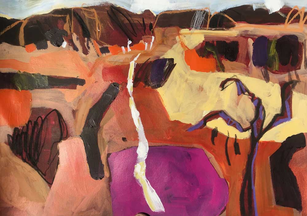Abstract painting of an orange and brown landscape with cerise pink and yellow contrasts