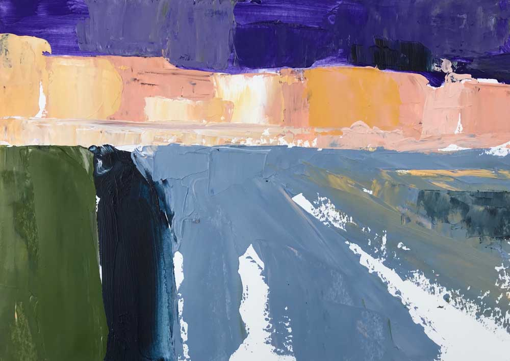 Abstract painting of a harbour in strong blues with contrasting shades of yellow and purple