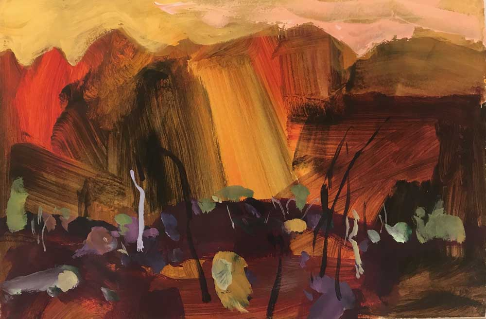 Abstract painting by Mike Staniford of a rich brown landscape with golden tones