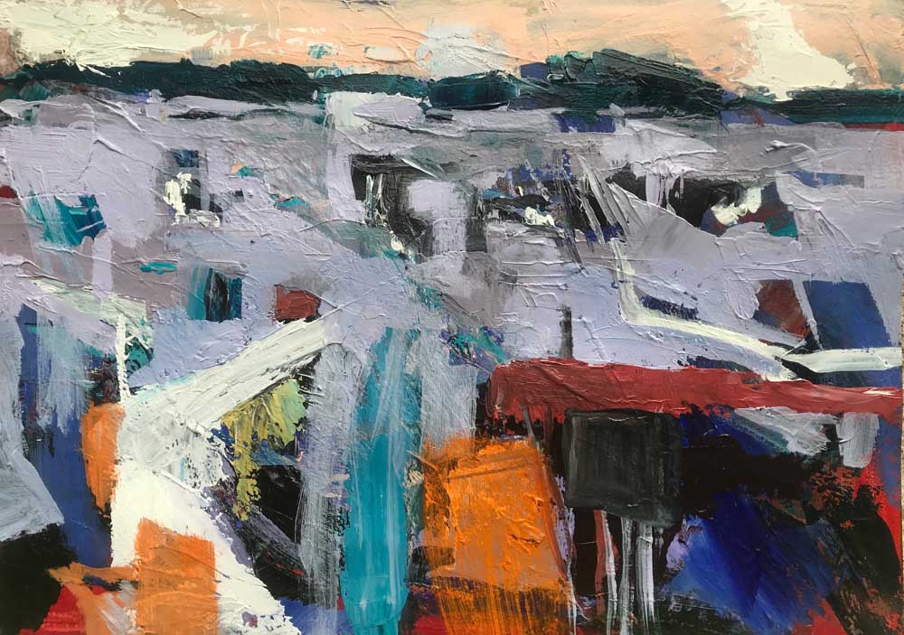 Abstract painting of a pale grey landscape with orange, burgundy and teal highlights