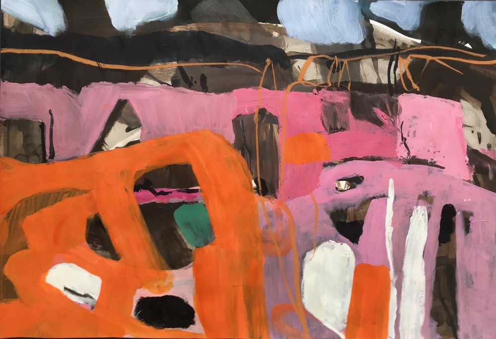 Abstract painting by Mike Staniford in pink and orange against a brown and grey background