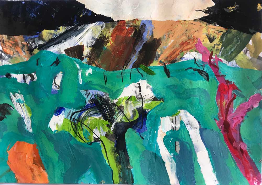 Abstract painting of a vivid jade green landscape against a dramatic blue black mountain backdrop