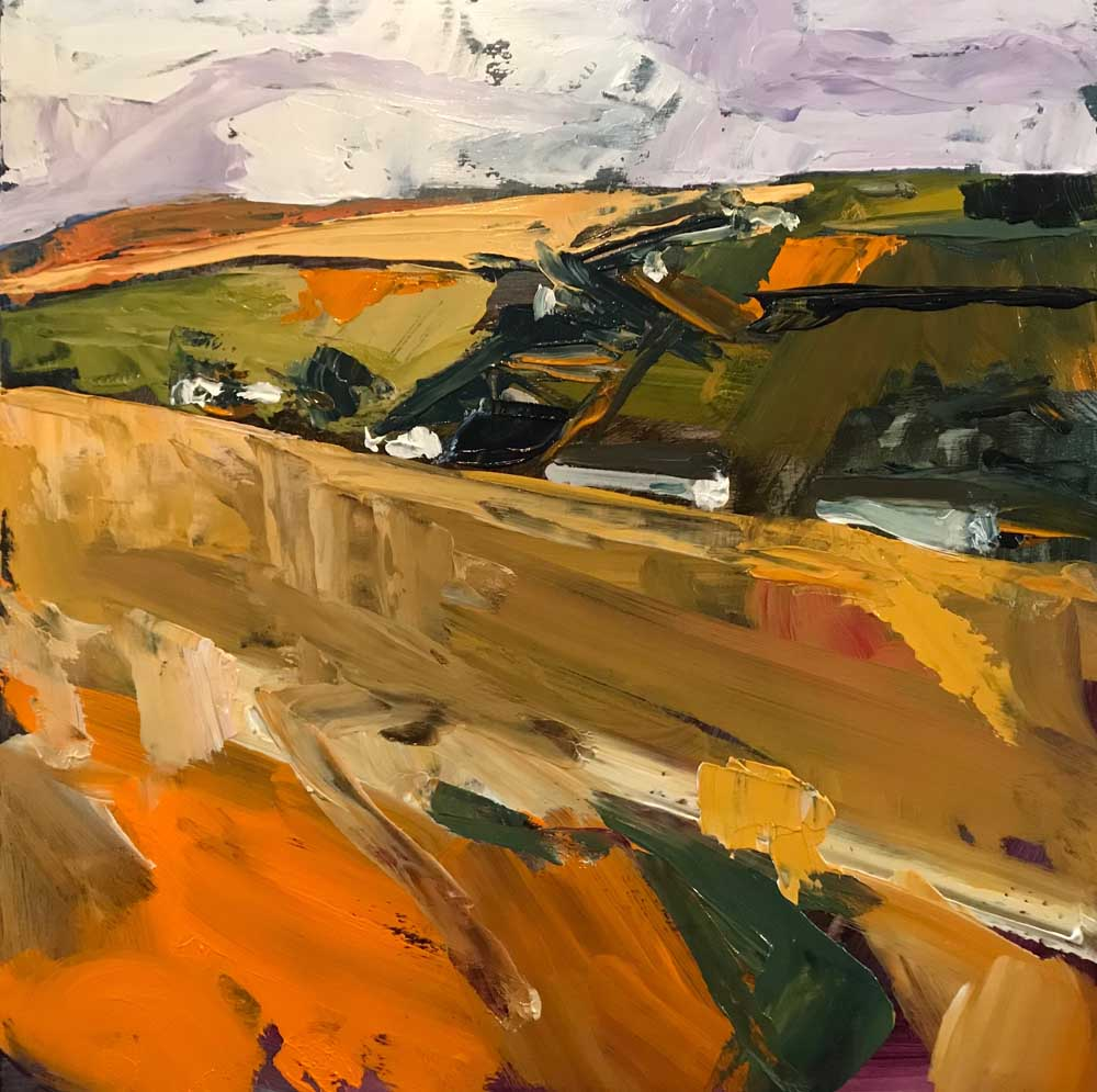 Landscape painting of rural fields in shades of brown orange and green