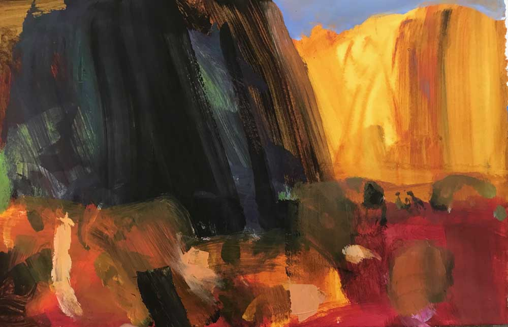 Landscape painting of the sun setting on N'Dhala gorge in dramatic grey, red and orange tones.