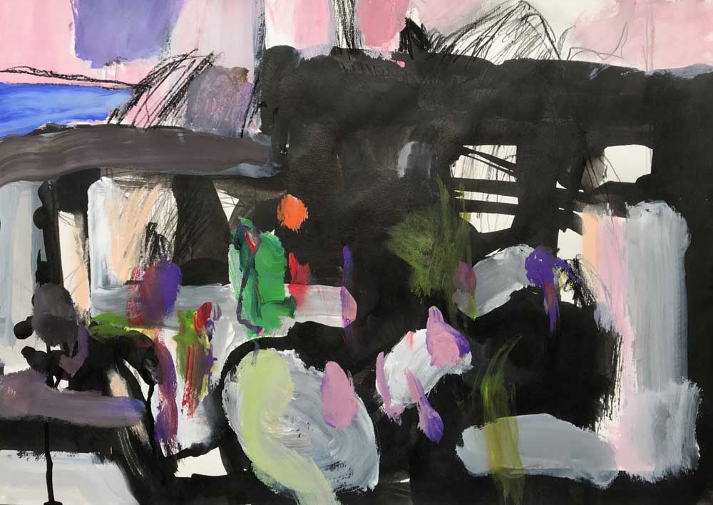 Abstract painting of fading dark grey shadows against a pink background with jewel tone accents
