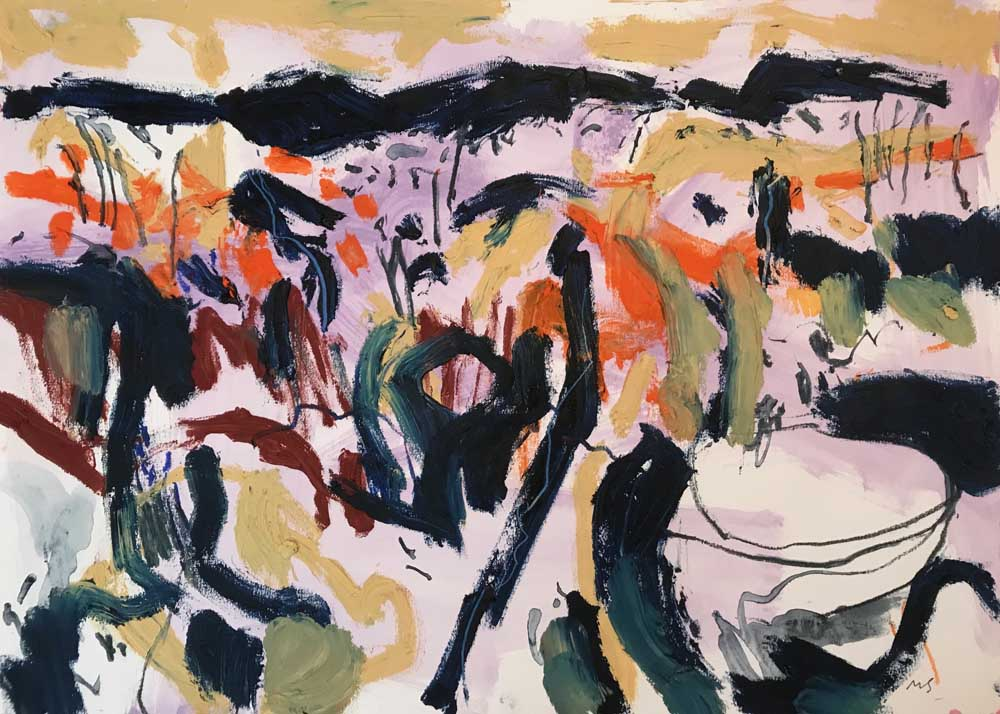 Abstract acrylic painting of a lilac, orange and sand landscape with oil stick dark green black highlights