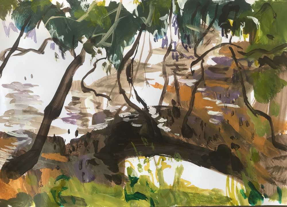 Landscape painting of olive coloured trees overhanging silver water and a boat