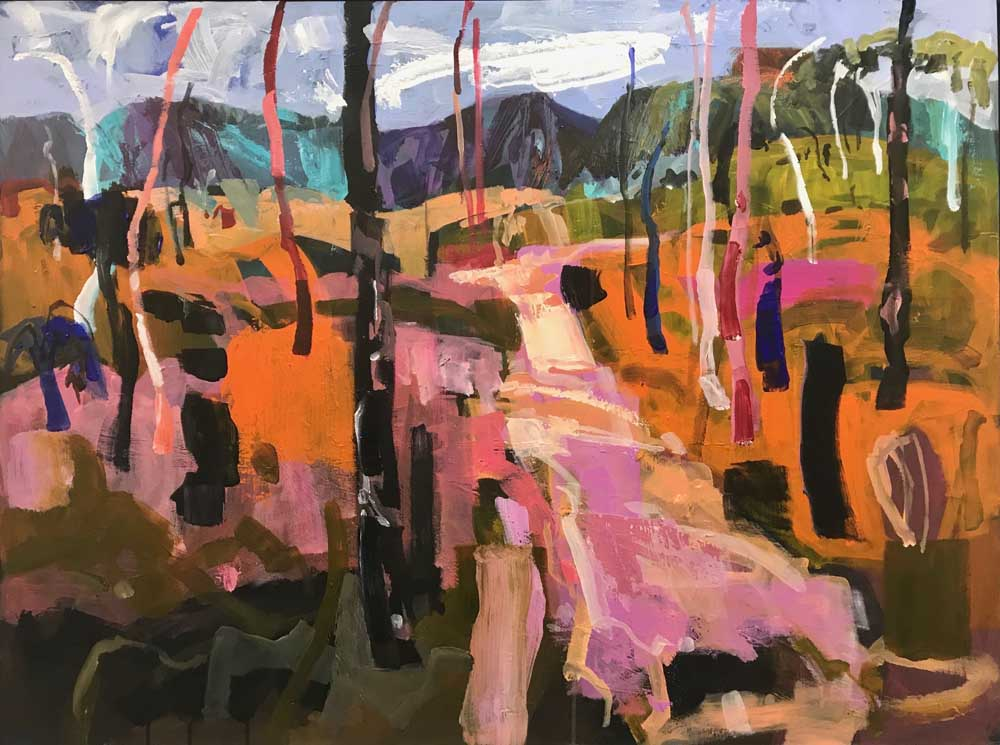 Landscape painting of orange and pink Killcare bush intersected by a path leading to the purple and turquoise hills behind