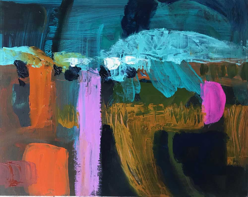 Abstract painting of the Ross River landscape in olive green with vivid pink and orange accents and a night sky in shades of turquoise and indigo
