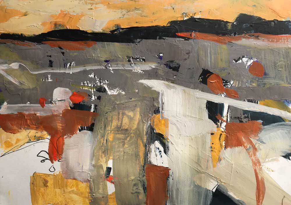 Abstract painting of a landscape in greys, creams and browns under a pale orange sky