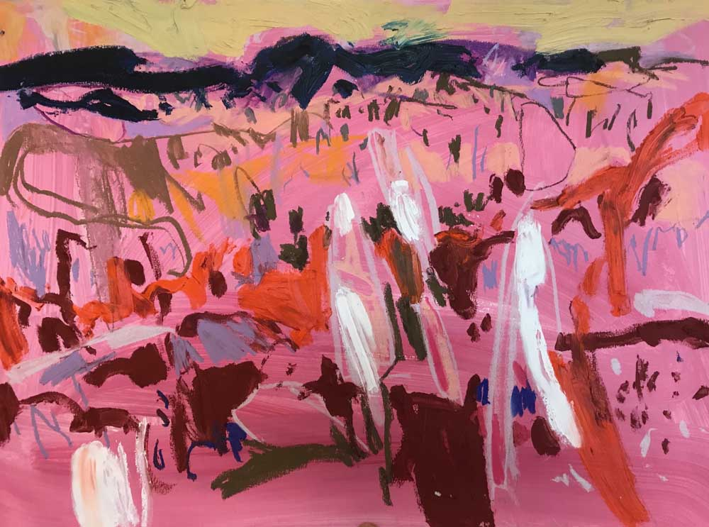 Abstract painting of a warm pink landscape with orange and burgundy highlights