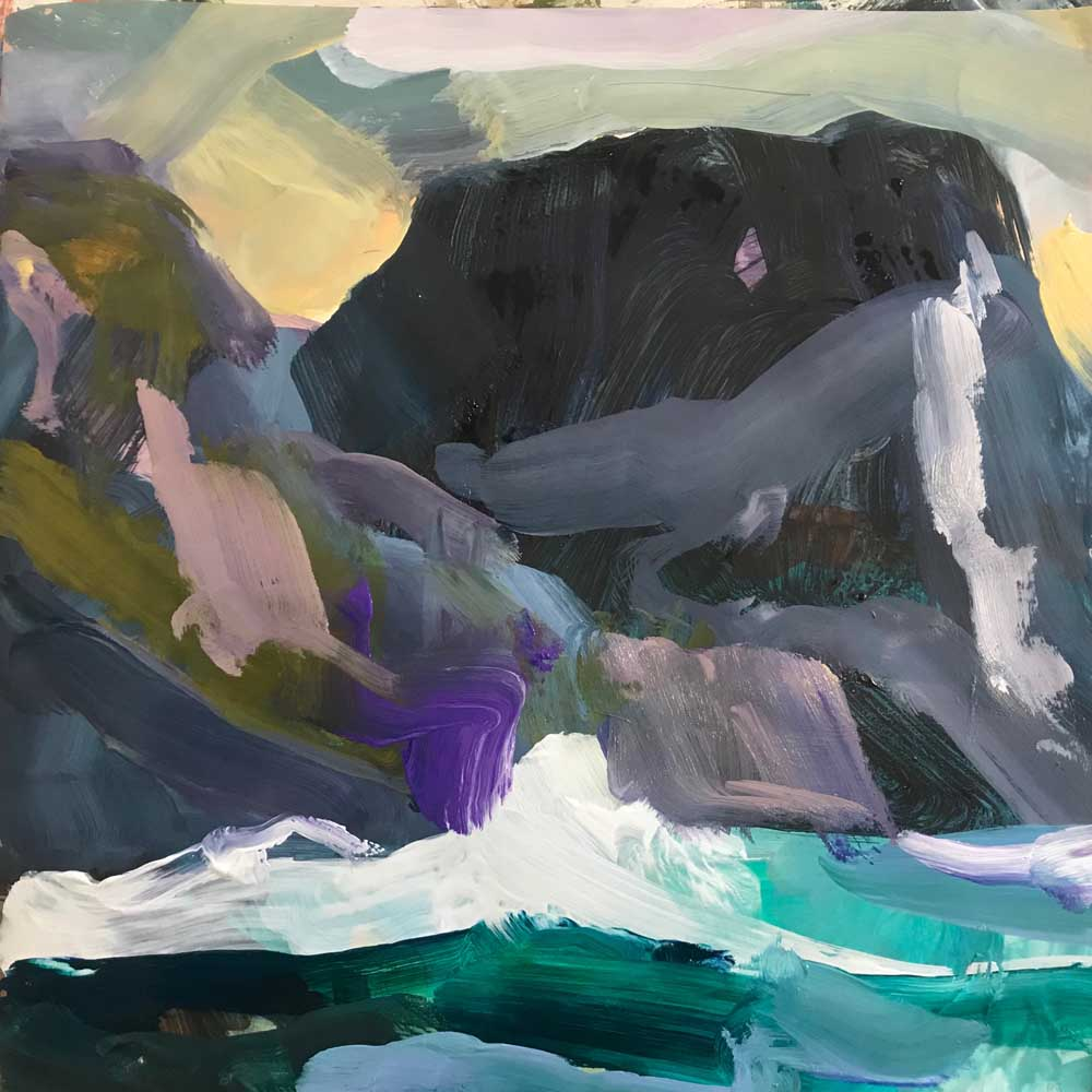 Abstract painting in greys and greens of Mt Gower and Mt Lidgebird with the ocean in the foreground