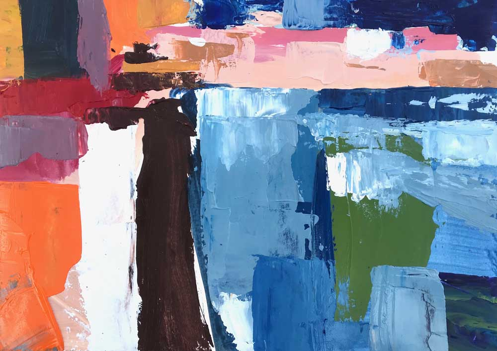 Abstract painting of a harbour in shades of blue with orange, pink and white contrasts