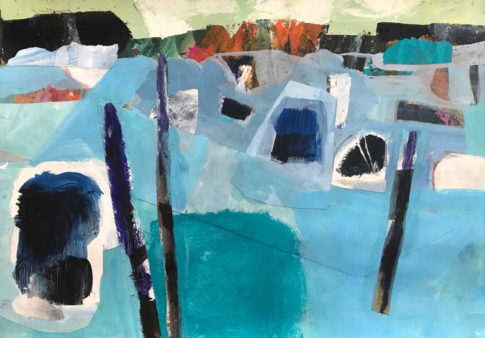 Abstract landscape painting of a headland in shades of blue under a pale green sky