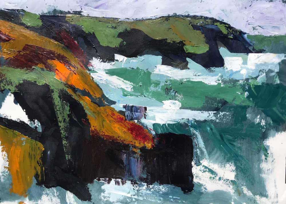 Abstract painting of cliffs overlooking a wild ocean in blues, greens and browns.