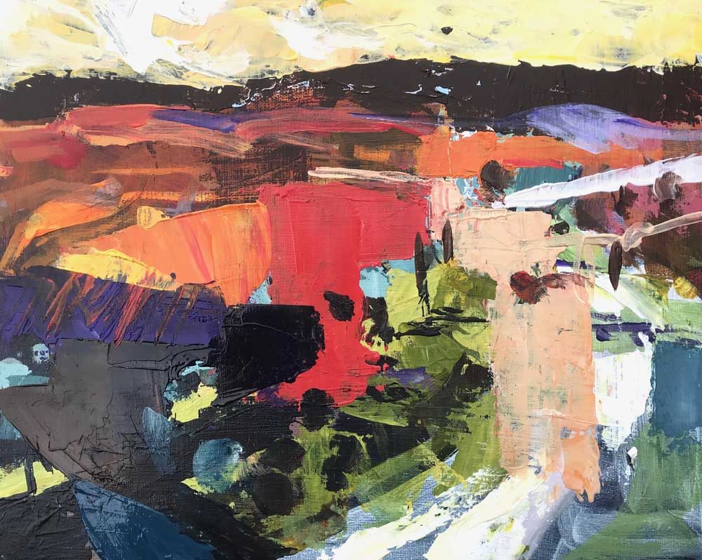 Abstract painting of a vivid landscape in red, orange and green with shadowed mountains on the horizon