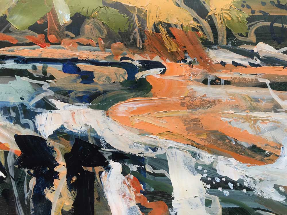 Abstract painting by Mike Staniford of the tide in pale grey, orange and green