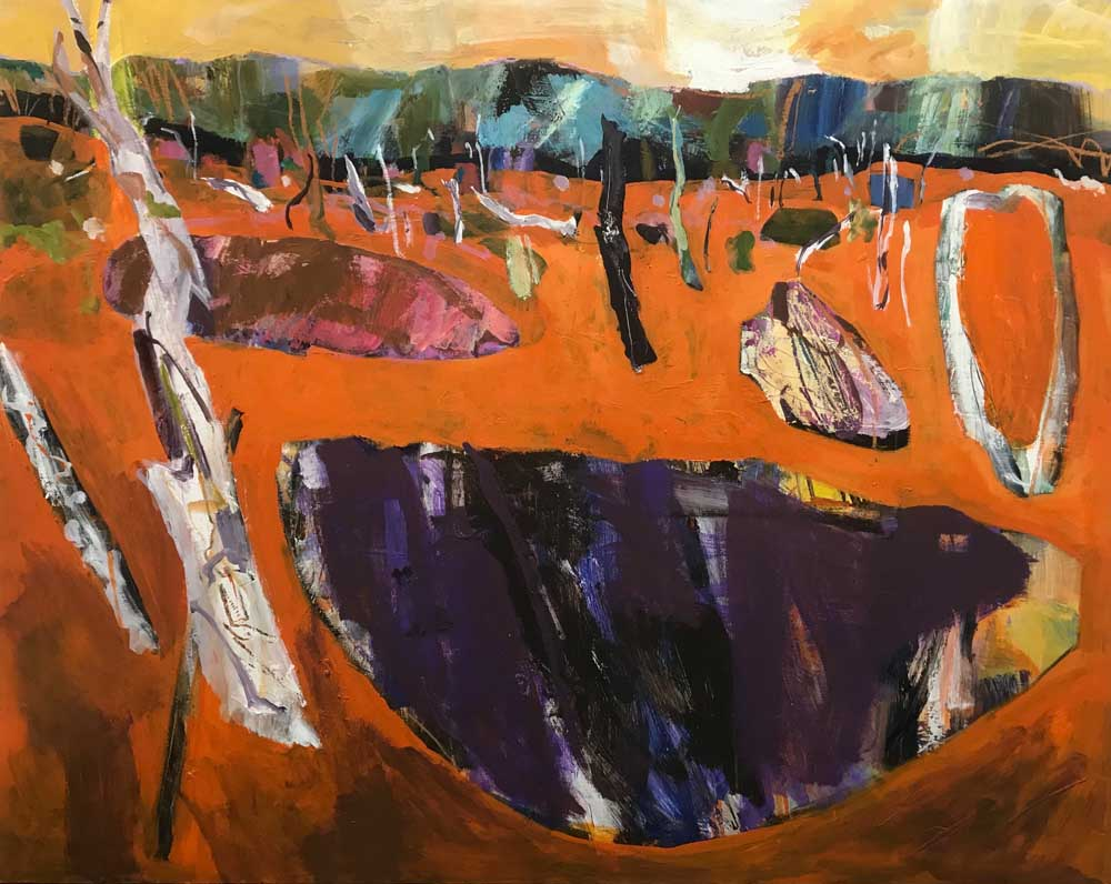 Abstract painting of a burnt orange landscape with bare trees, green mountains in the distance and a pale orange sky above