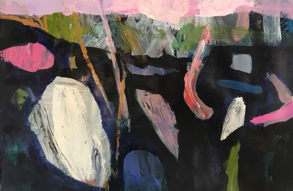 Abstract landscape painting in shades of dark purple grey with silver, pink and green highlights.
