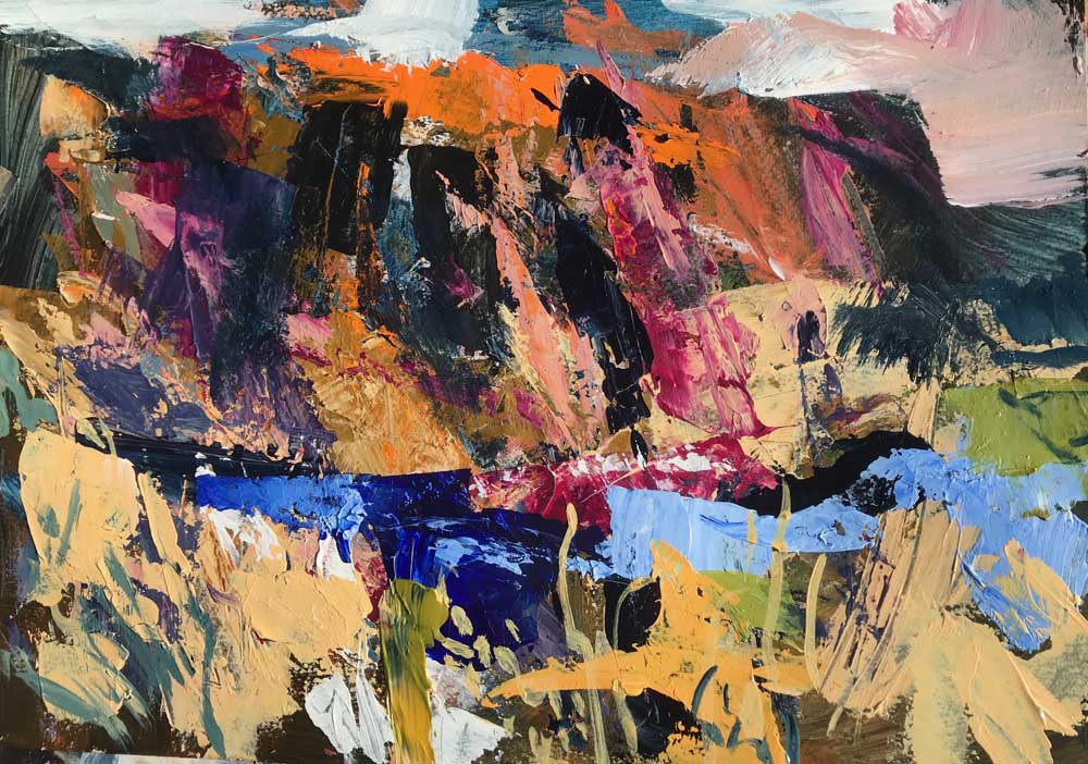 Abstract landscape painting by Mike Staniford in pink and gold hues