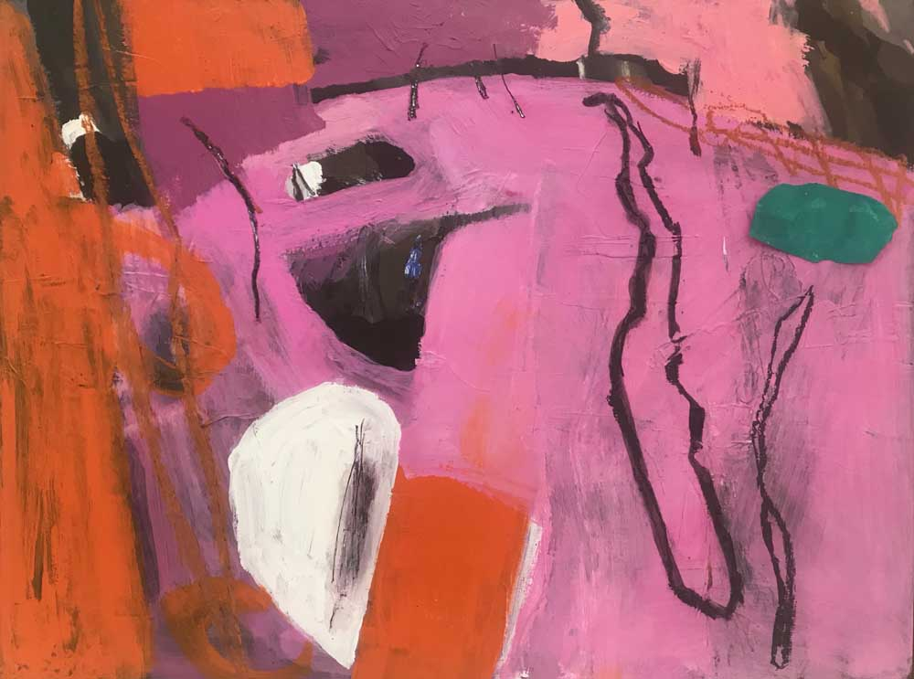 Abstract painting by Mike Staniford in shades of pink with orange, jade green and white accents