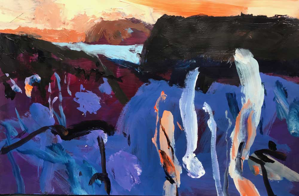 Abstract painting of a rich blue and burgundy landscape with mountains in the background and an orange sky