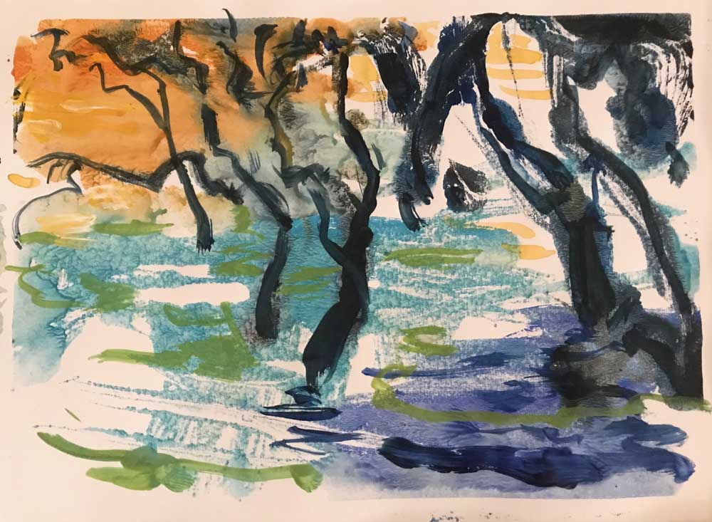 Painting by Mike Staniford of grey black Mangroves surrounded by shimmering water under an orange evening sky