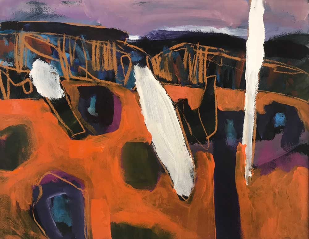 Abstract painting of an orange and purple landscape by Mike Staniford