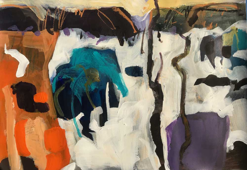 Abstract painting of a mist covered landscape in shades of orange, teal and purple