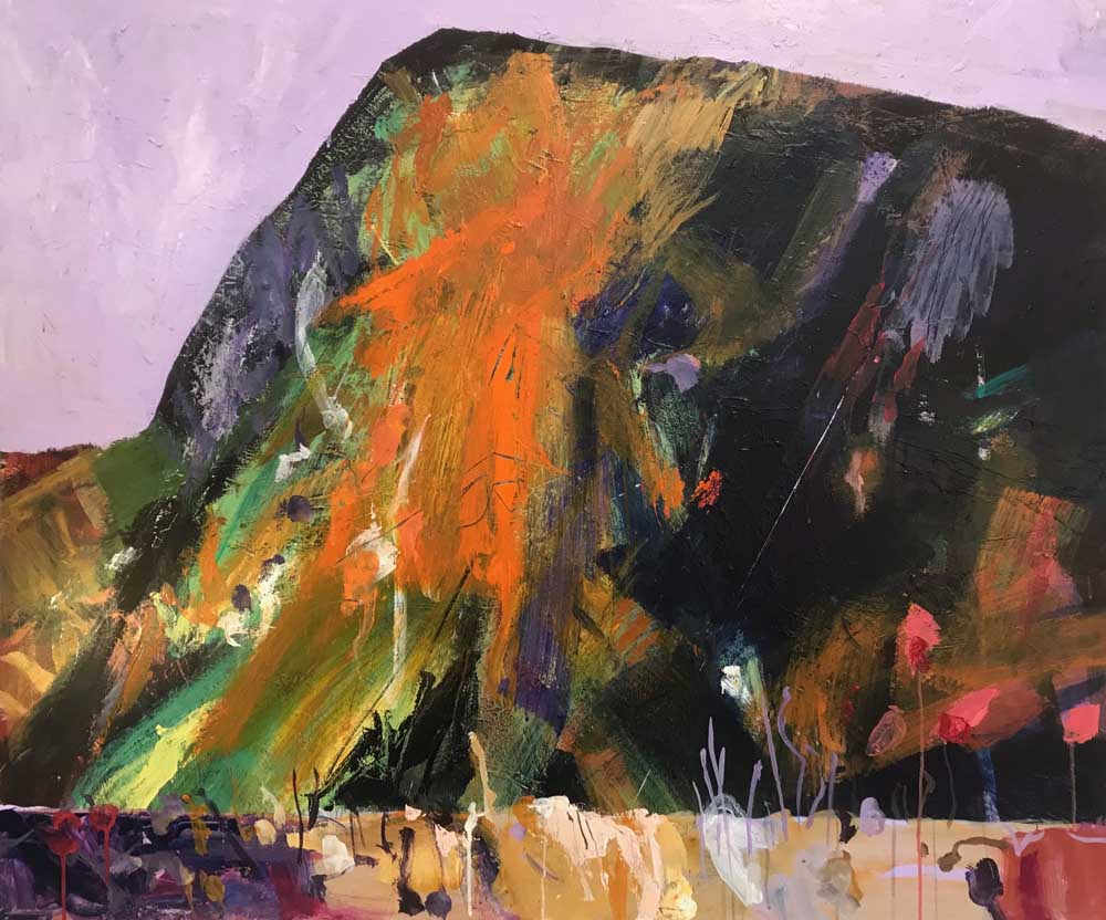 Painting by Mike Staniford of dramatic monolithic mountain in purples, green and orange with a lilac sky
