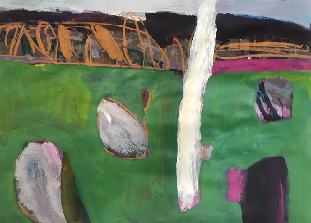 Serene abstract painting of rich green landscape with white, deep cerise pink and tan accents.