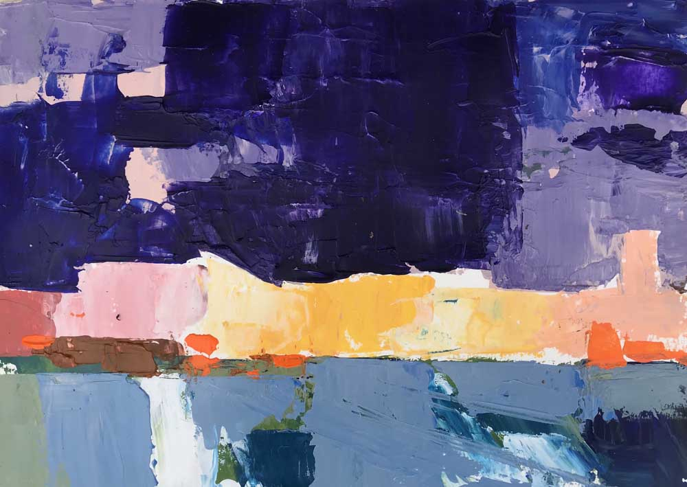 Abstract painting of a harbour as night falls in purple and blue with pink and yellow highlights