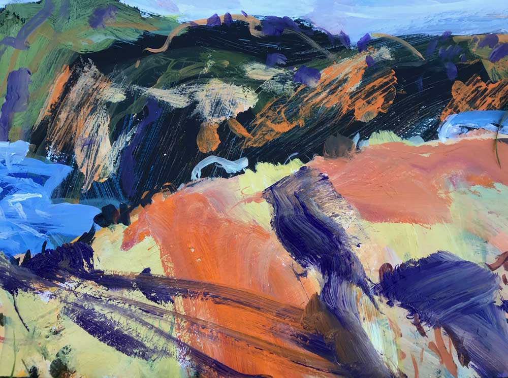 Abstract painting of a dramatic landscape in shades of green, blue and orange