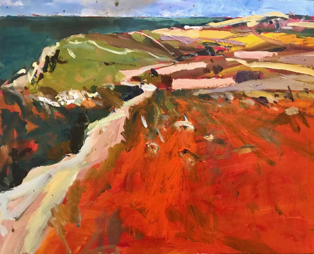 Abstract painting of an open red landscape with green and yellow contrast