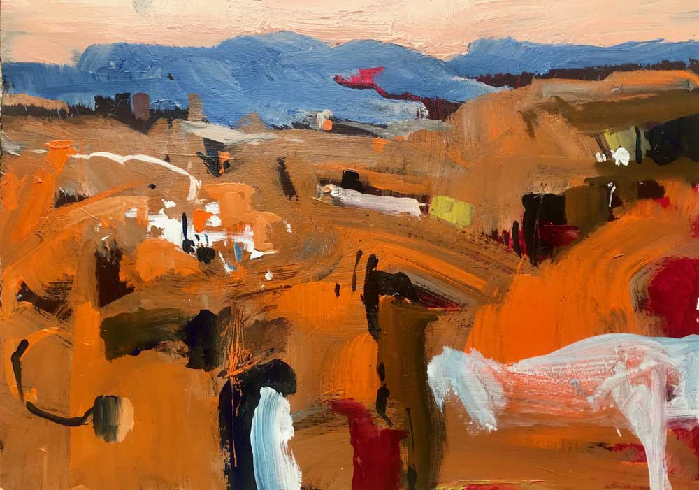 Abstract painting of a warm orange landscape with distant blue mountains and a pale pink sky