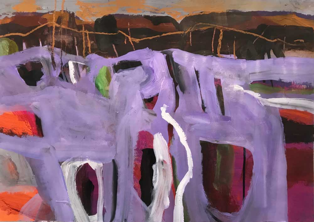 Abstract landscape painting by Mike Staniford with shades of purple with orange and brown background.