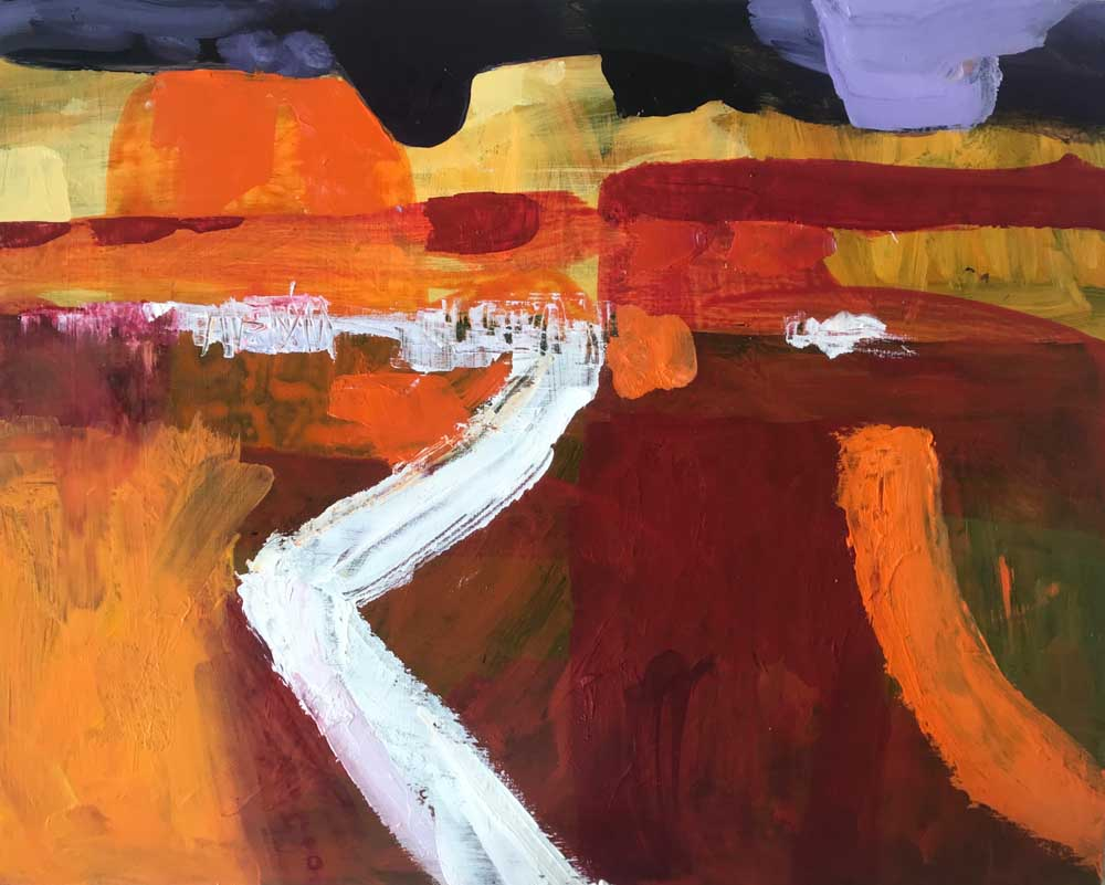 Abstract landscape painting by Mike Staniford of Ross River and surrounds in orange and burgundy under an indigo evening sky