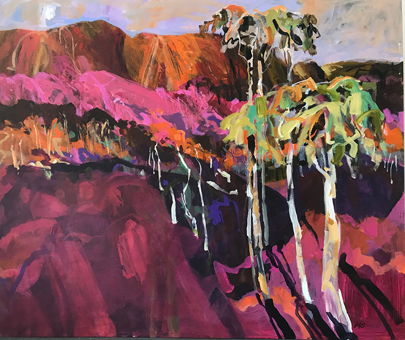 Abstract landscape painting in pink and green with trees and mountains in the bush of Australia