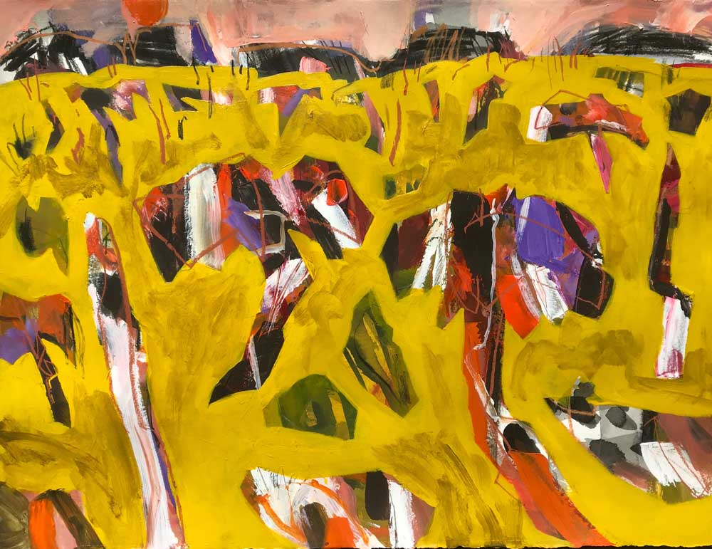 Abstract painting in mustard yellow with shades of orange, black, white and orange.