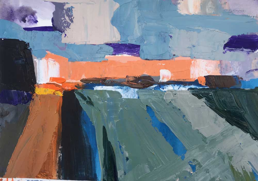 Abstract painting of a harbour seascape in orange, blue and grey