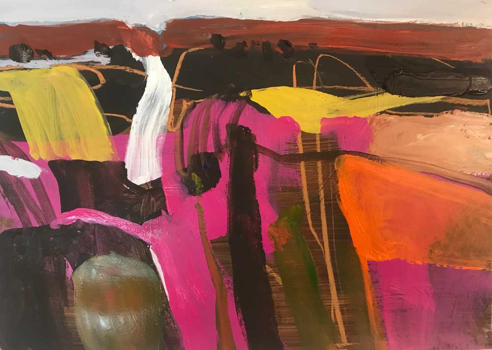 Abstract painting by Mike Staniford in vivid cerise pink, with shades of brown and orange and yellow contrast highlights.