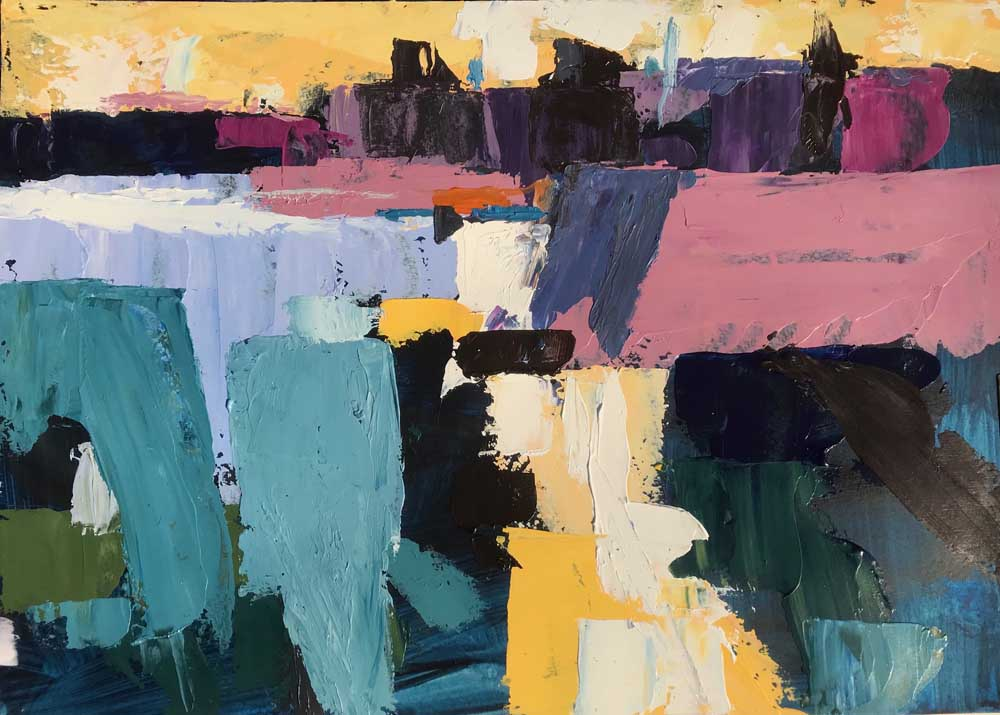 Abstract painting of a harbour in evening light in shades of blue, pink and yellow