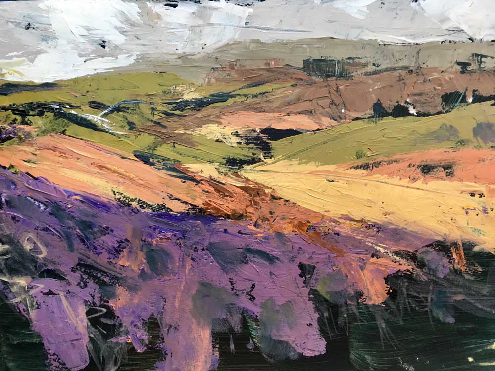 Abstract painting of an open landscape in shades of purple, green, grey and orange