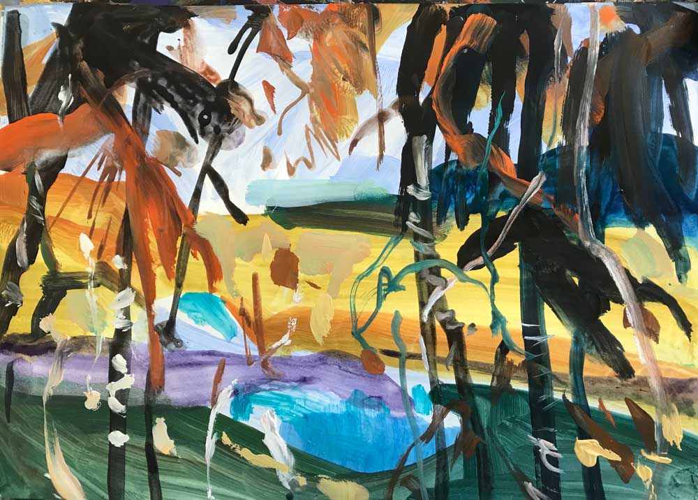 Abstract painting of a path through to a beach with bush foliage in the foreground