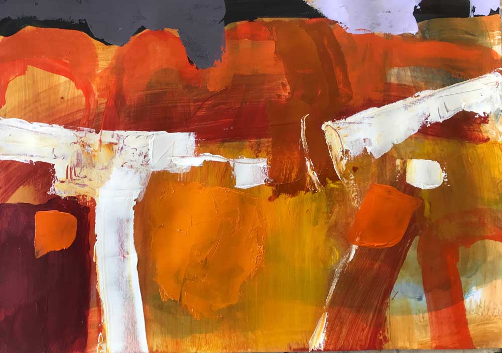 Abstract landscape painting by Mike Staniford in orange hues with white and lilac