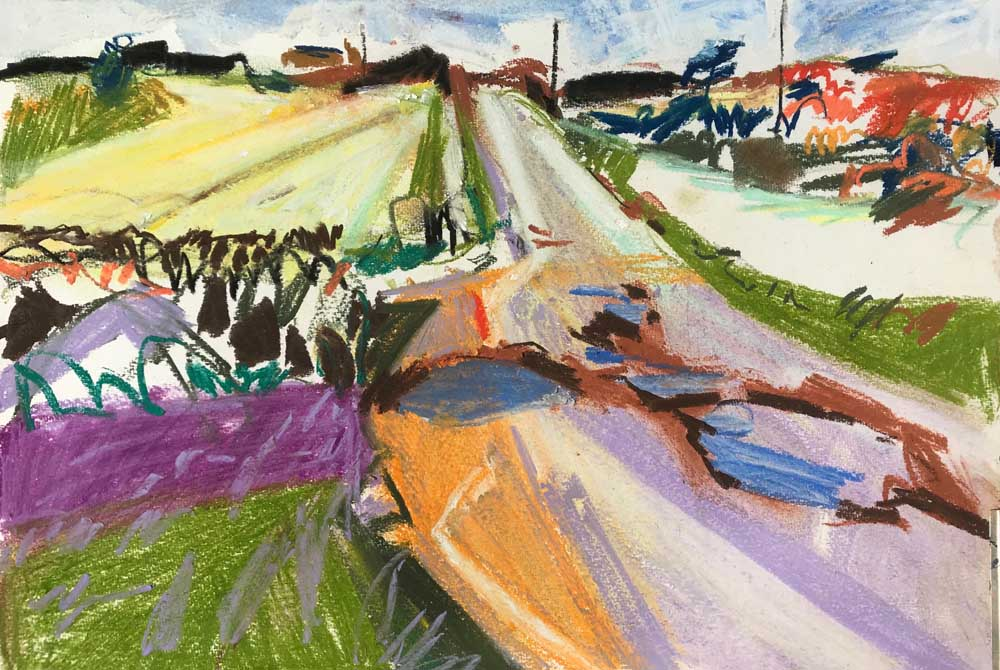 Pastel drawing of a road intersecting a rural landscape in green, purple and brown