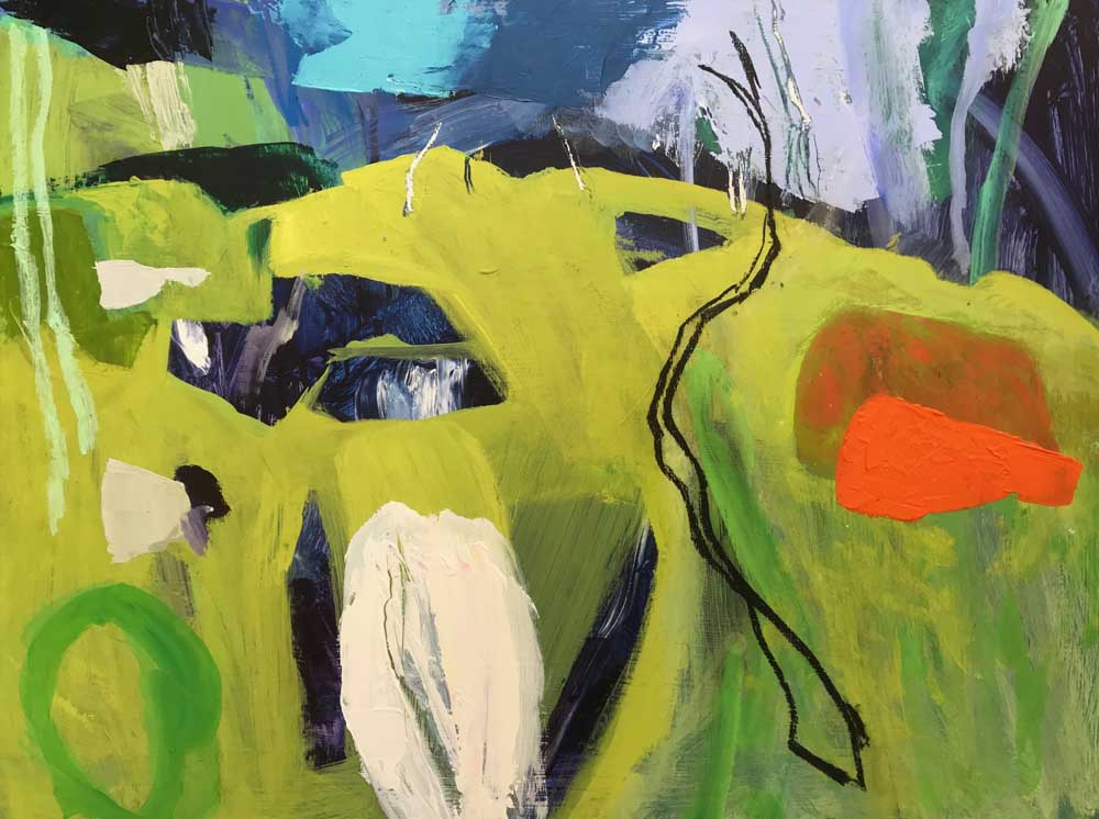 Abstract painting by Mike Staniford in shades of green and blue with white and orange highlights.
