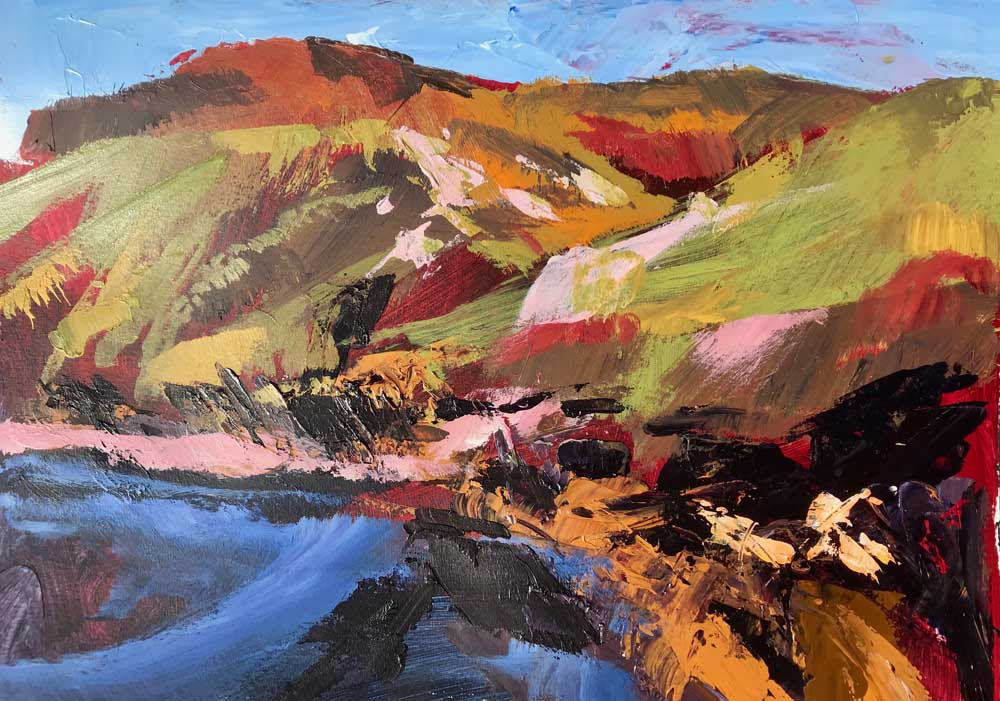 Abstract painting of a hillside bathed in morning light in shades of green, pink, orange and blue.