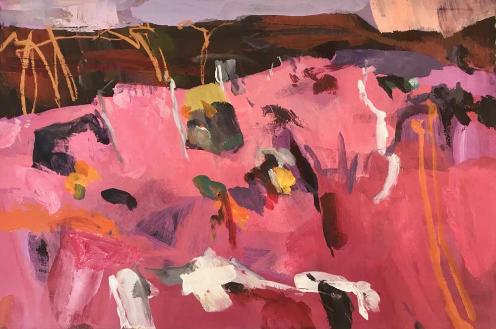 Abstract painting by Mike Staniford with open pink landscape in the foreground, red brown hills in the background under a taupe sky