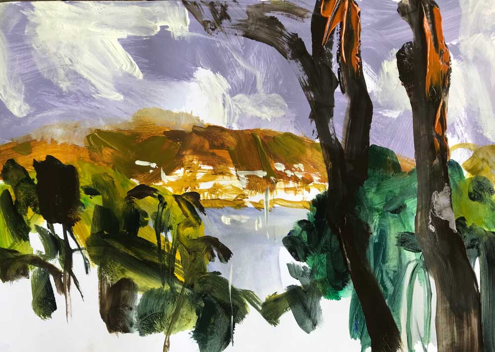 Landscape painting by Mike Staniford with a view through green trees to a bay surrounded by orange hills under a lilac sky.